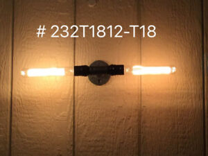 """Industrial 18"""" Wall Light with Vintage Retro Filament Light Bul"""