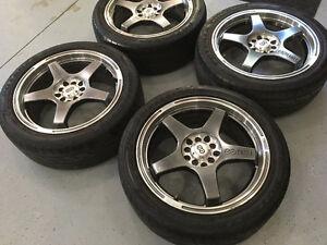 17x7 Enkei EV5 Rims with Tires