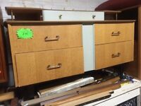 Vintage retro wooden mid century 50s 60s shabby check G Plan chest of drawers dresser cabinet