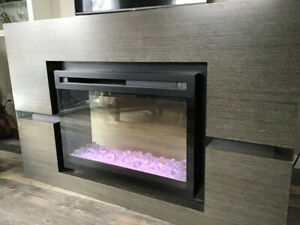 Dimplex Linwood electric fireplace and mantle