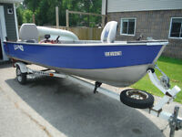 1996 LUND ALUMINUM 14 FT (Wide and Deep) 20 HP JOHNSON & TRAILER