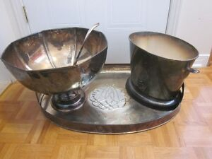 Argent/Silver-Plated Platter,Punch Bowl&Ice Bucket(pour servir)