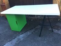 IKEA OFFICE DESK KIDS ADULTS GREEN AND WHITE ** FREE DELIVERY TONIGHT **