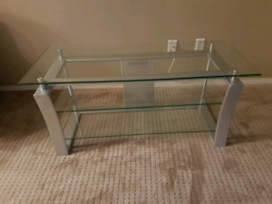 Glass & silver metal TV stand