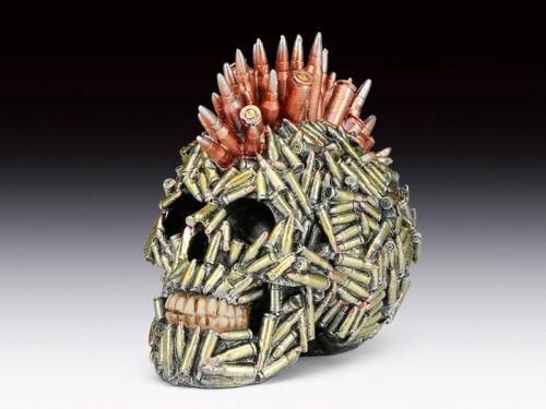 Skull Covered with Bullets Steampunk Figurine Statue Skeleton