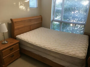 Excellent Condition Hardwood Queensize Bed + Two Night Tables