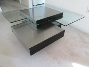 Contemporary stainless steel & lucite coffee table