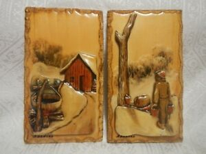 HAND PAINTED 3D FOLK ART WOOD CARVING PLAQUES SIGNED N. NADEAU