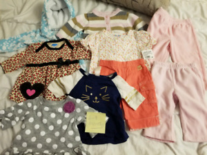 Baby girls clothing lot sizes from 0-12 months