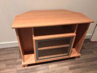 Beech TV cabinet with Glass Door