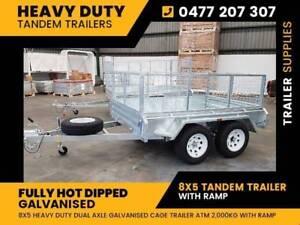 8x5 Galvanised tandem Trailer with ramp
