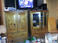 Handcrafted Solid Pine Dual Entertainment Units $150 OBO