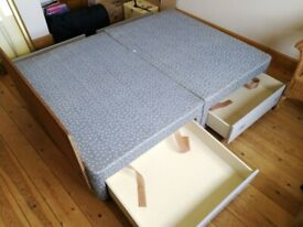 Double Divan Bed base with drawers.