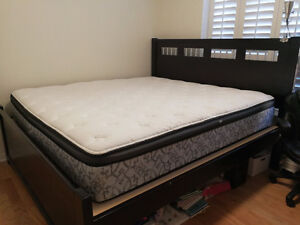 Hardwood king bed and Luxury Matching Mattress Excellent Shape