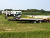 escavator and trailers