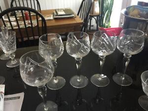 5 Pinwheel Crystal wine hocks