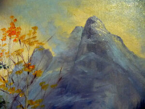 "Original Oil, Dorothy Hunter (Adams) ""Landscape with Mountains"" Stratford Kitchener Area image 10"