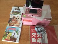 Pink 3DS in box with charger +games