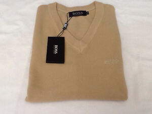 BOSS men sweater 100% CASHMERE WOOL, NEW with tags