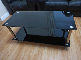 Rectangle Tempered Glass Coffee Table (Black)