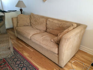 Suede, Down filled Couch and Arm Chairs
