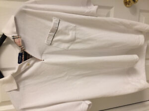 STYLE-White Burberry Style  London Polo logo  shirt Like new