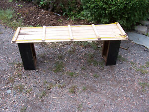 Garden Bench Made From Vintage Toboghan - Reinforced Seat