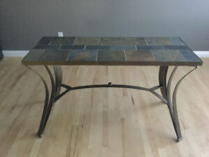 Coffee table, sofa table and 2 end tables-tile and metal. $250.