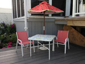 Kids Patio Table, Chairs and Market Umbrella