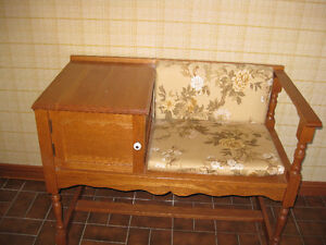 small bench with cabinet attached