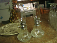 Pr of Small Clear Glass Hurricane Lamps