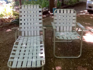 Vintage Metal/Webbed Strap Lawn Chair & Chaise Lounge