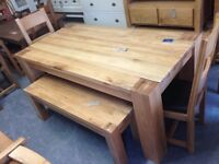 1.8m solid oak dining table