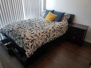 Double Bed Mattress Set with drawers: Espresso Brown