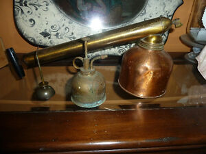 Brass/Copper Sprayer and 2 smaller oil canisters