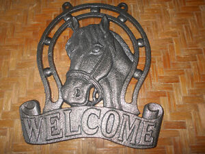 Vintage Polished Cast Iron Horse WELCOME sign