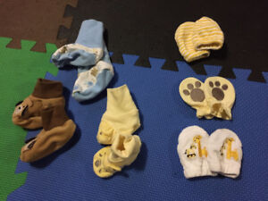 Baby boy and girl booties, mitts and slippers