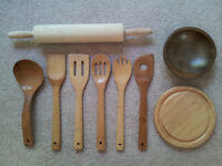 Nine Wooden Kitchen Utensils - NEW & LIKE NEW
