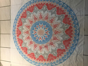 Coral and blue wall tapestry