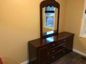 Dresser with large mirror.