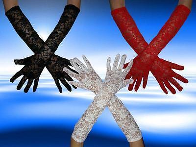 Elegante Spitzen Handschuhe, Langhandschuhe, Abendhandschuhe, 3 Farben, NEUWARE  (Weiße Spitzen Handschuhe)