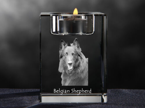 Belgian Shepherd, crystal candlestick with dog, souvenir, Crystal Animals CA