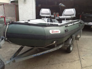 "13'9"" ZEBEC 420 AR inflatable boat, trailer & electric motor"