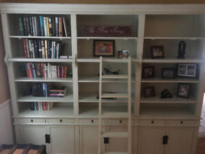 Beautiful Solid Wood Bookcase Cabinet With Ladder