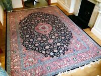 14ft x 10ft Antique Hand-Sewn Silk Persian Rug