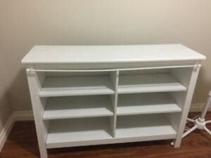 White, six shelf, shelving unit