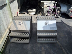 Two truck frame mount side boxes , almost new