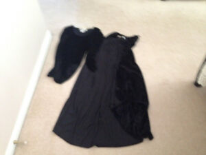 Black crushed velvet cape and body suit