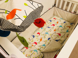 Baby Bedding Set Including Matching Musical Mobile