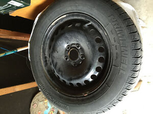 Snow Tires on Rims with Sensors